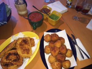 Mozzarella en Carrozza with dipping sauces
